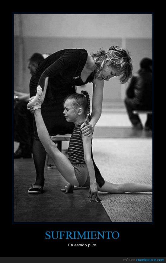 ballet,dolor,flexibilidad,forzar,lágrimas,llorar,madre,niña