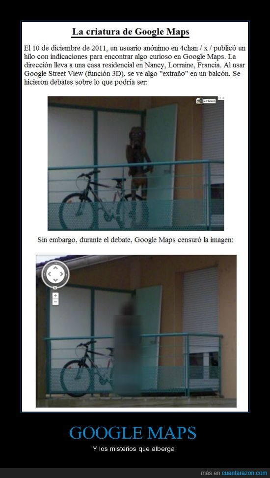 criatura,el primo de El Grito de Edvard Munch,foto extraña,google maps