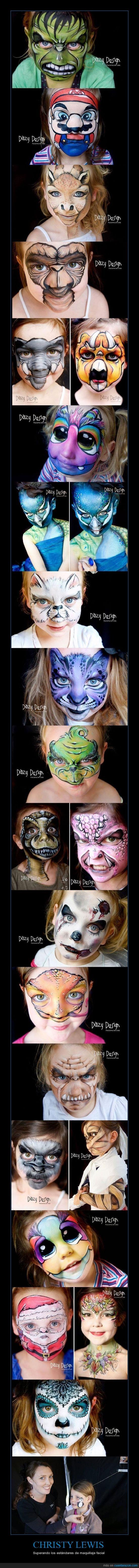 avestruz,Christy Lewis,Espectacular,et,Imaginación,Llevado a Otro Nivel,Maquillaje Facial
