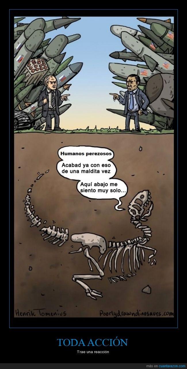 bajo tierra,bombas,dinosaurio,extincion,guerras,huesos