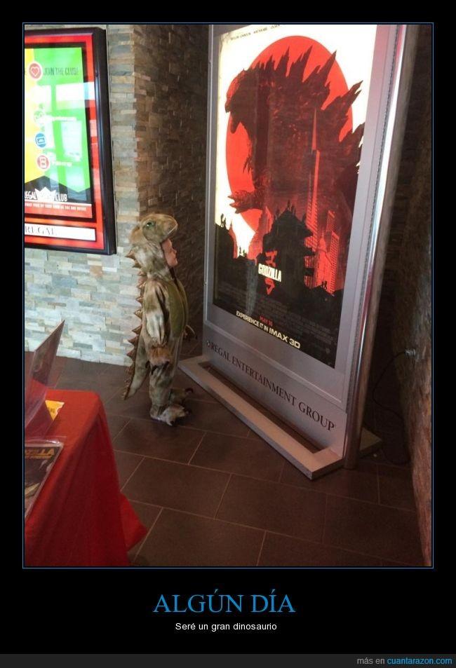 botarga,dinosaurio,disfraz,Godzilla,ilusión,niño