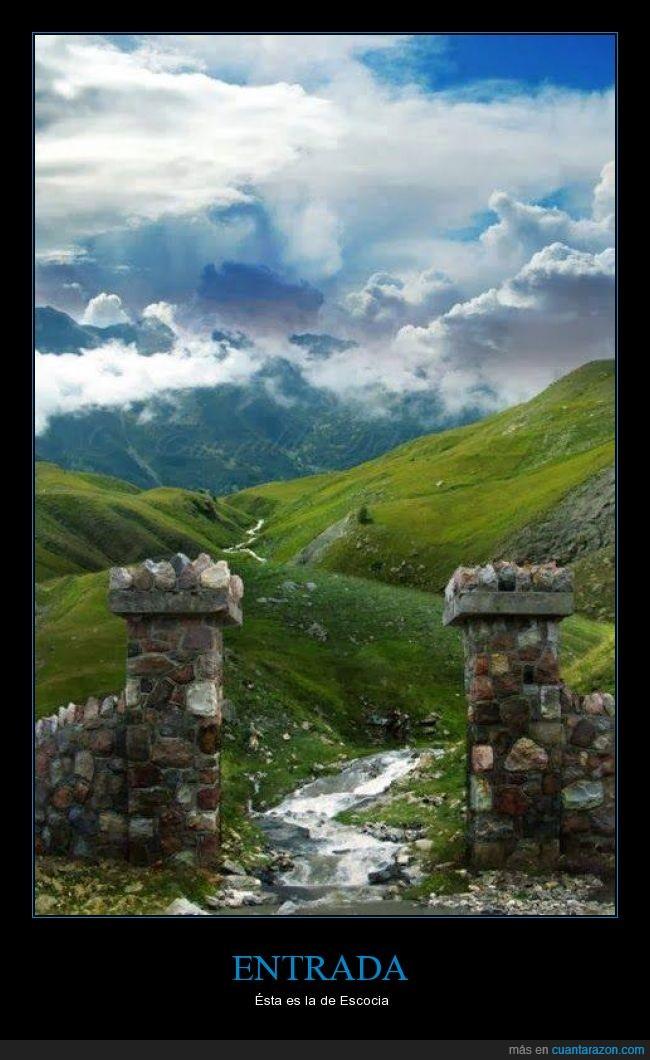 entrada,escocia,muralla,naturaleza,paisaje,puerta