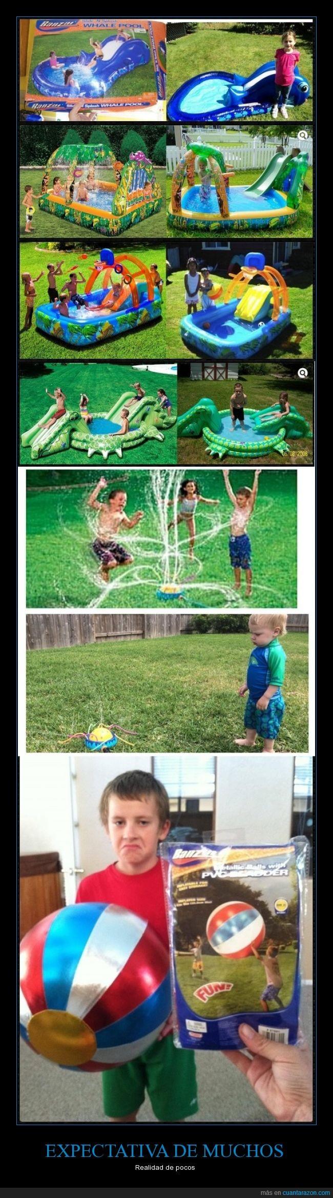 Expectativa,felices,globos,niños,piscinas,realidad