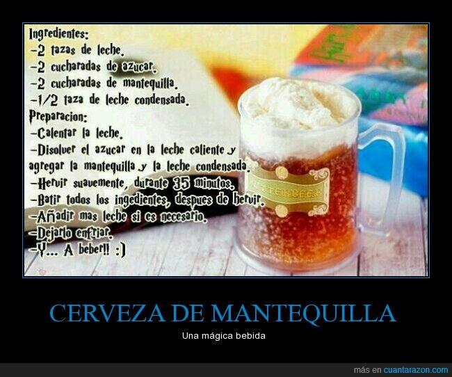bebida,cerveza de mantequilla,harry potter,ingredientes,mágica,preparación,receta