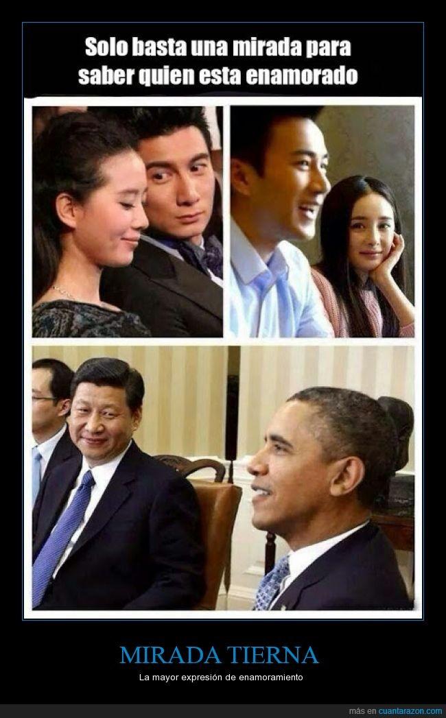 enamoramiento,mirada tierna,obama,¿Qué será lo que quiere el negro?