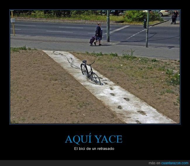 accidente,acera,bici,cemento,fresco,idiota,vereda