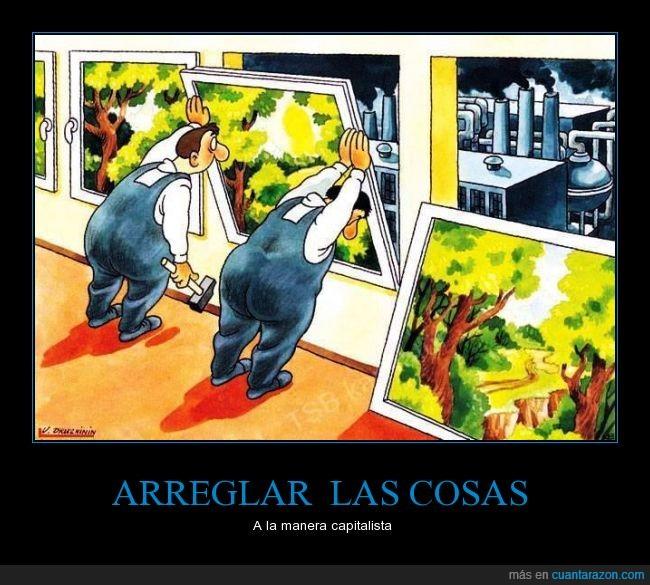 bonito,capitalismo,contaminación,cuadro,deforestación,esconder,simular,tapar