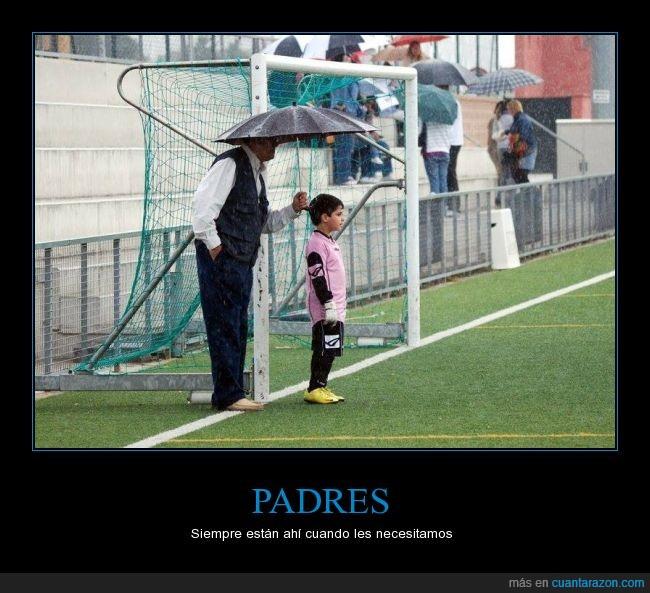 futbol,hijo,lluvia,niño,padre,paraguas,portero,tapar