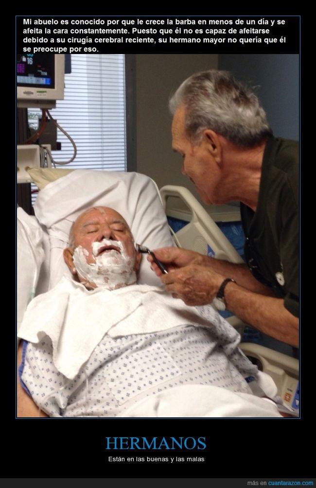 abuelo,actualidad,afeitar,amor,barba,conocido,hermano,odio,paciencia,padre