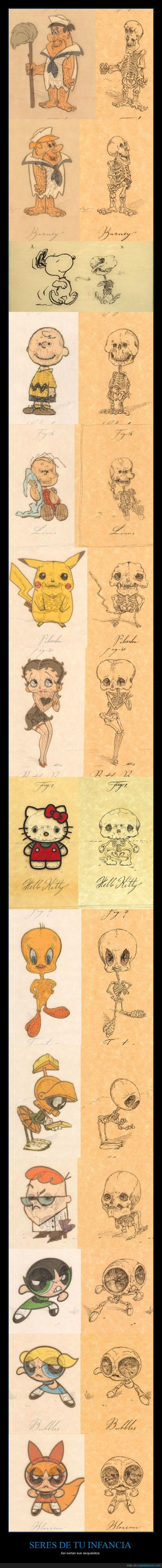 cuerpo,dexter,esqueleto,hello kitty,hueso,infancia,marvin,personaje,pikachu,snoopy,supernenas