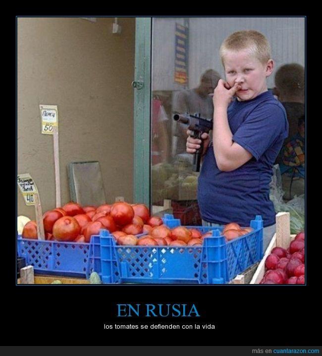 arma,ciruela,fruta,niño,Rusia,tomates,verdura