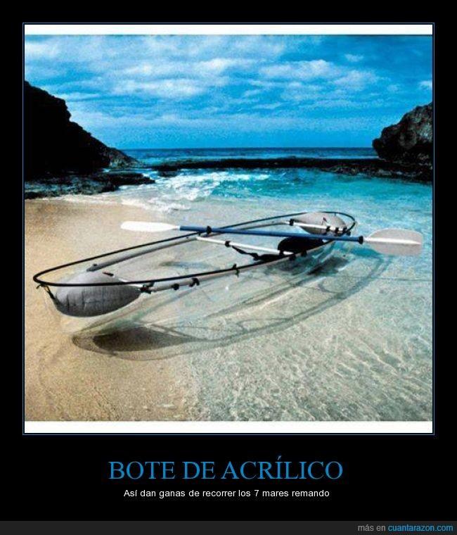 acrilico,barca,bote,inovación,kayak,lancha,mar,océano,oleaje,plastico,remo,transparencia,transparente