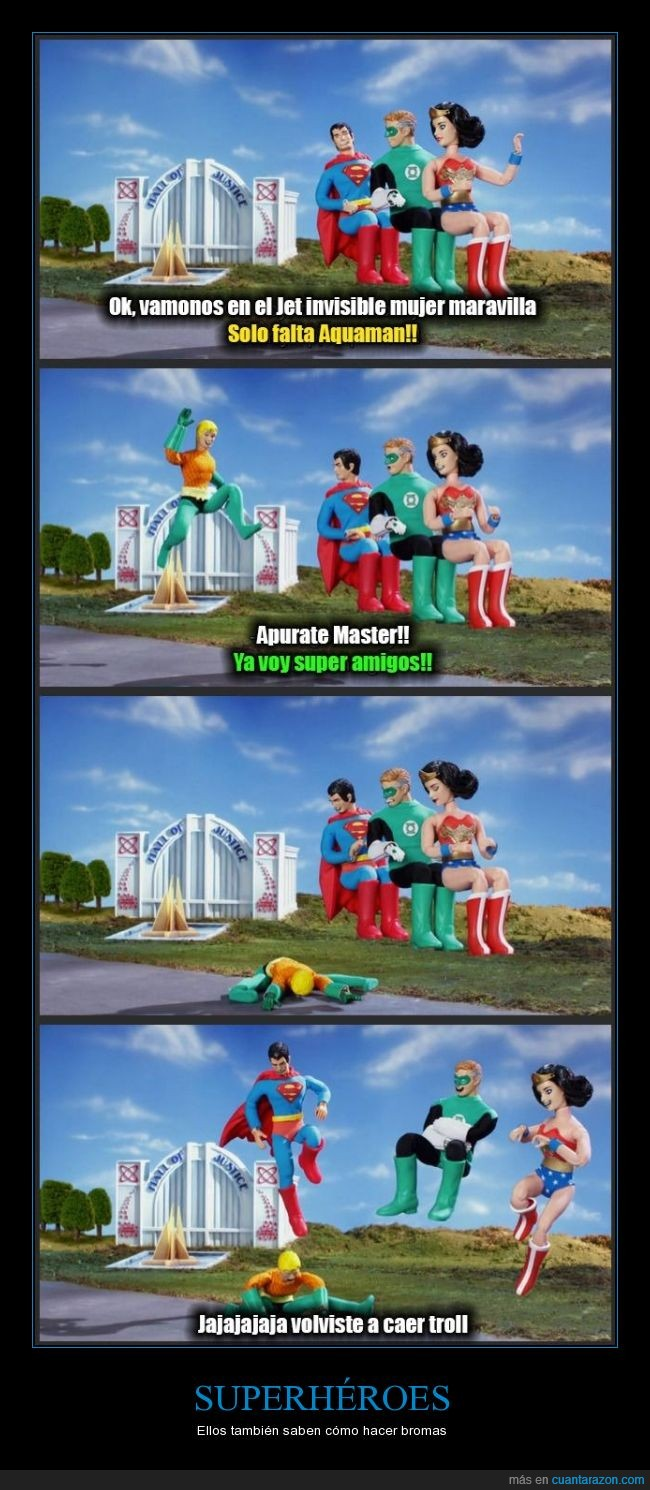 Aquaman,Avion invisible,broma,Caída