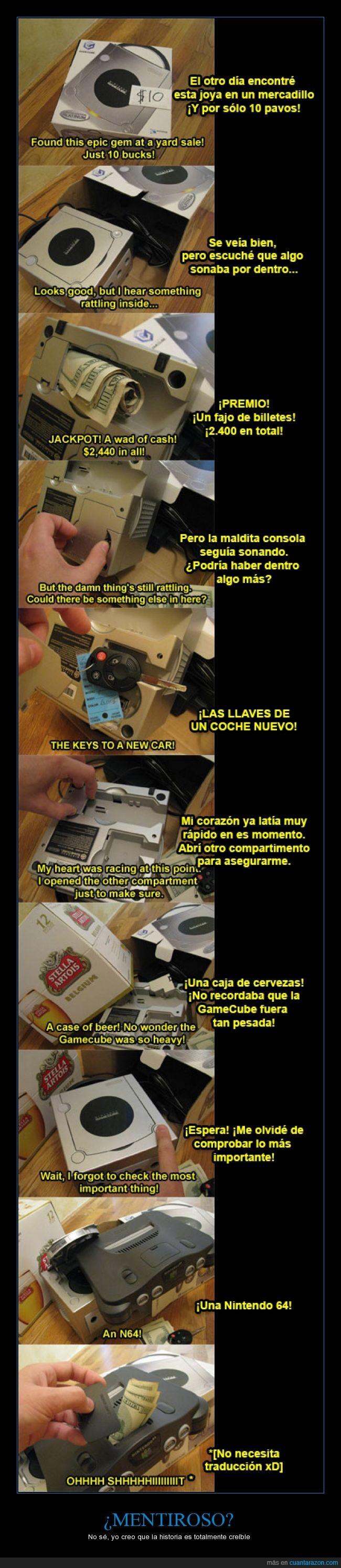 Cerveza,GameCube,Mucha fantasía xD,N64,Siento si me he equivocado en algún fragmento de la traducción :/
