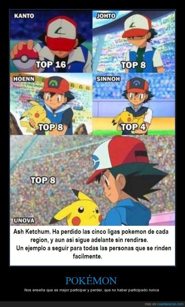 Ash Ketchum,liga pokemon,lo importante es participar y divertirse,nunca hay que rendirnos,nunca rendirse,perder,pikachu,Pokemon