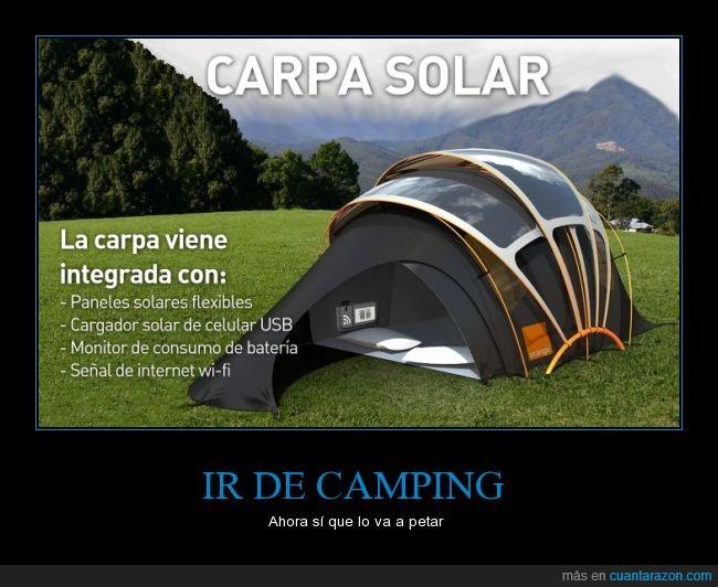 acampar,caping,casa de campaña,Internet,luz solar,modernidad