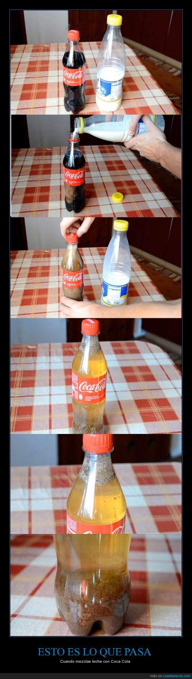cocacola,cortar,experimento,La Cocasola es Un Veneno,lacteo,leche