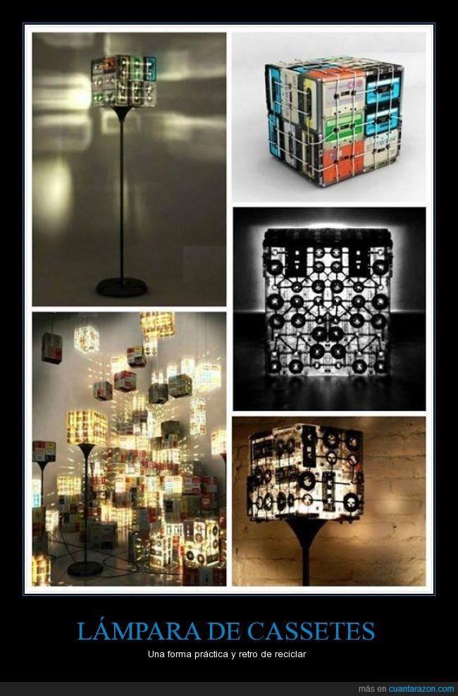 Cassetes,cintas,lámpara,reciclar