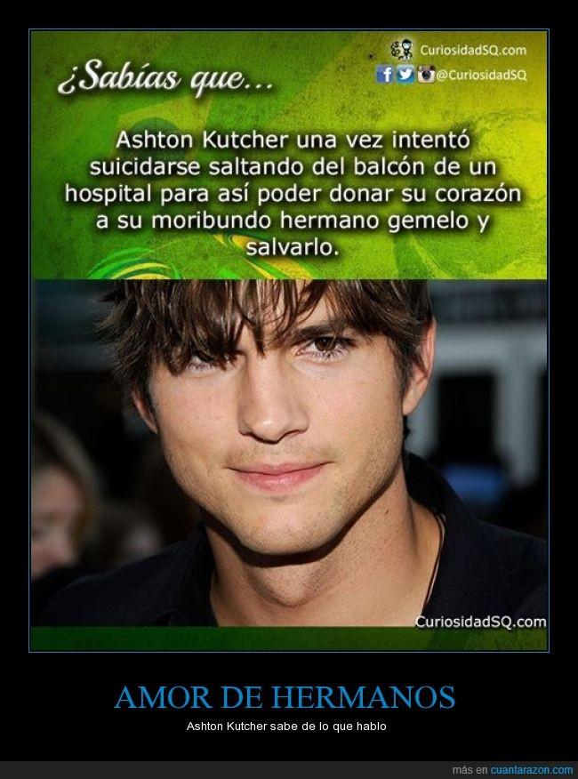 amor de hermanos,ashton kutcher,bueno,corazon,interesante,sabias que,suicidar,tirar,transplante
