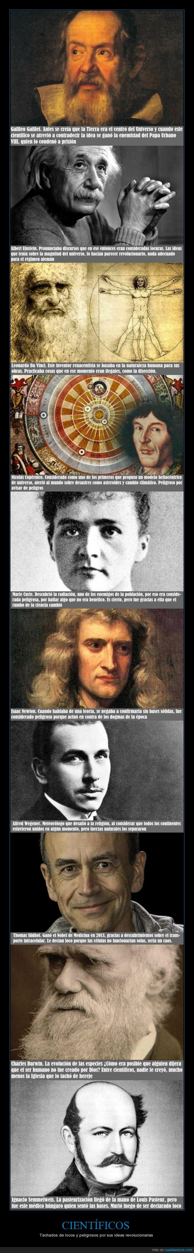 Albert Einstein,Alfred Wegener,Charles Darwin,científicos,Galileo Galilei,grandes mentes,Ignacio Semmelweis,Isaac Newton,Leonardo Da Vinci,Marie Curie,Nicolás Copérnico,teorías,Thomas Südhof