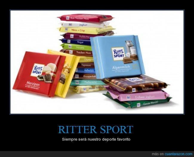 chocolate,comer,delicioso,deportes,realidad,rico,ritter,rittersport,sport