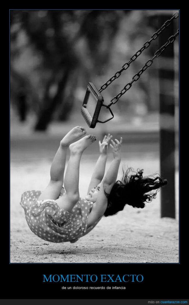accidente,caída,columpio,dolor,espalda,golpe,hostia,niña,planchazo,porrazo