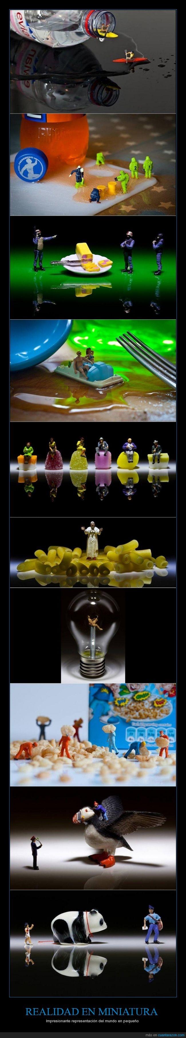 creatividad,David Gilliver,fotógrafías,miniaturas,realidad
