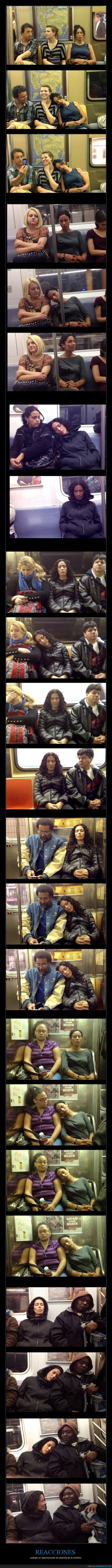 dormir,hombro,metro,mujer,NYC,personas,reacciones