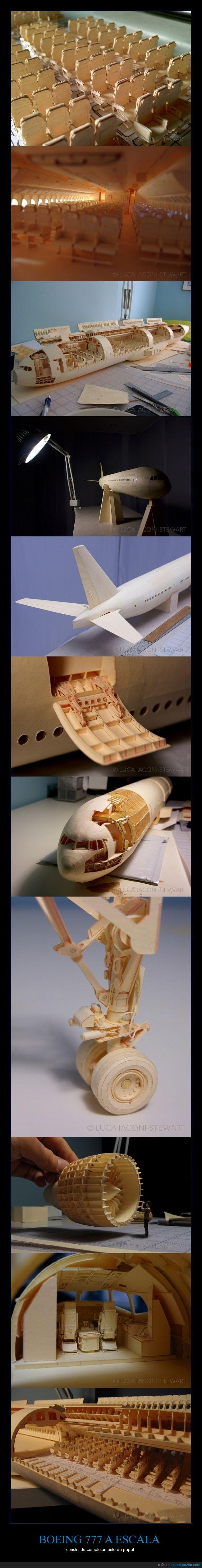 avion,boeing,escala,madera,maqueta,papel,sorprendente