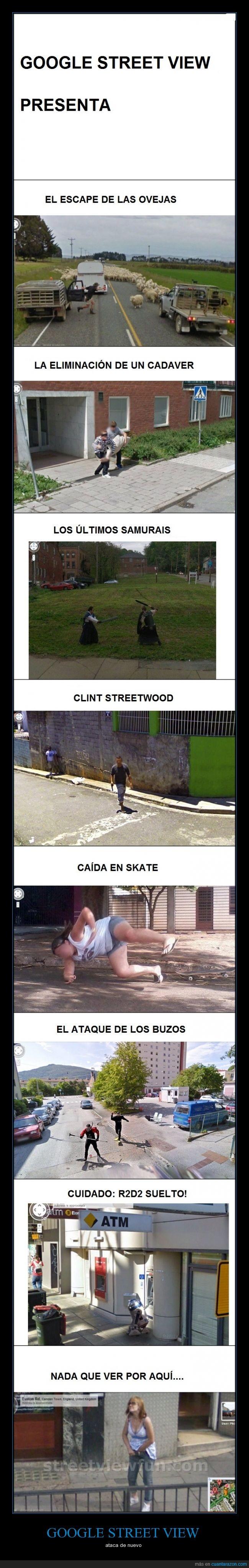 buzos,capturas,fotos,google,google street view,inesperado,ovejas,r2d2,samurais,street,view,wtf