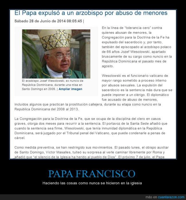 arzobispo,excomulgar,expulsion,francisco,francisco mola,menor,papa,religion,violadores