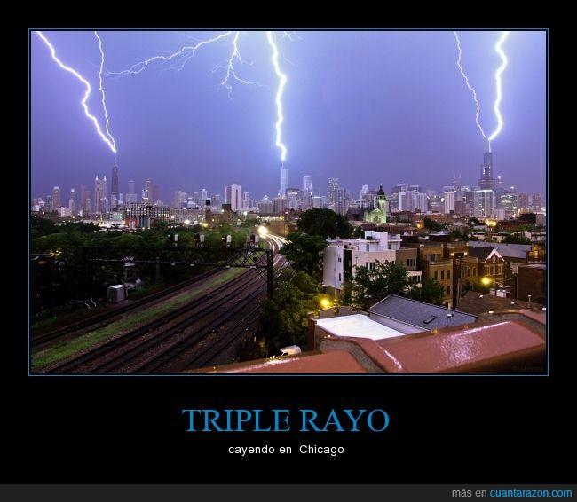 Chicago,ciudad,descarga eléctrica,pararrayos,rascacielos,rayo,tormenta,USA