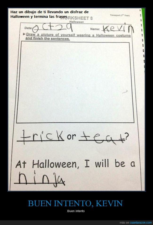 dibujo,disfraz,escuela,Halloween,Kevin,ninja,niño,trabajo,troll