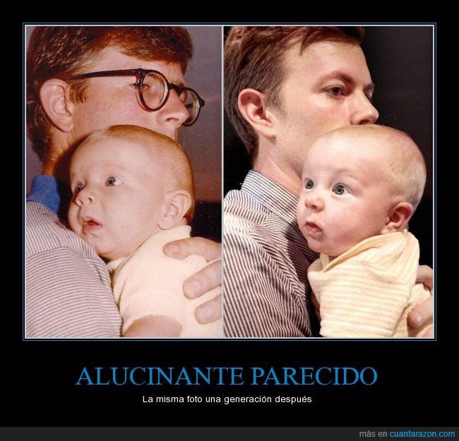 bebe,camisa,cara,foto,genetica,igual,misma,nieto,niño,padre