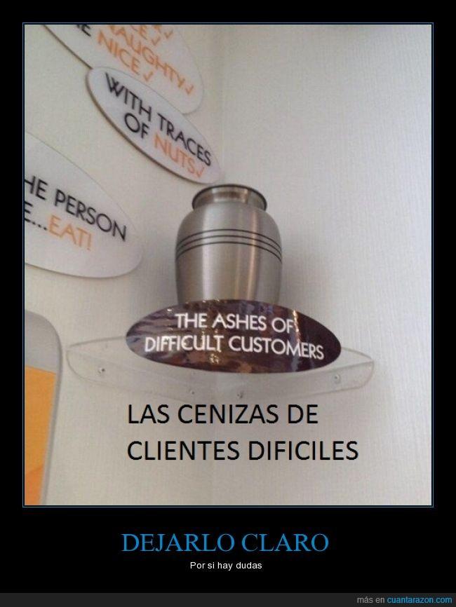 advertencia,cenizas,clientes,dificiles,ingles,tienda,urna