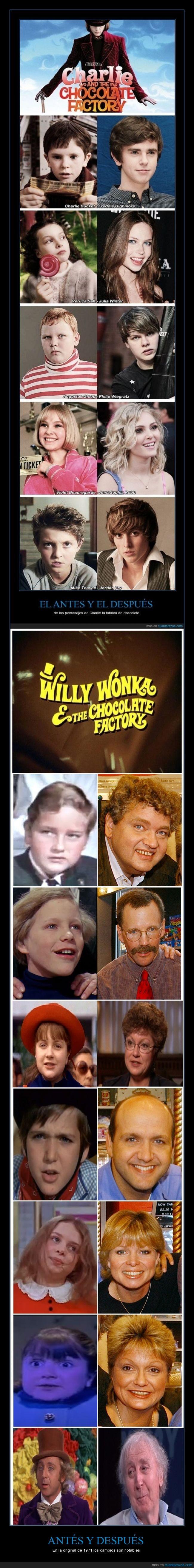 antes,charlie y la fabrica de chocolate,despues,original,pelicula,willy wonka