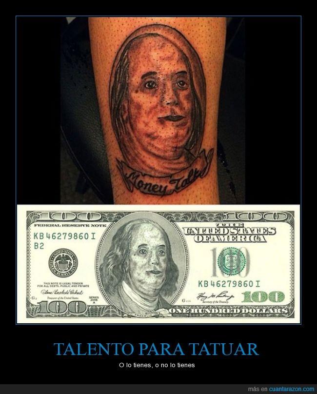 benjamin franklin,billete,dinero,fail,fatal,hiperrealista,tattoo,tatuaje