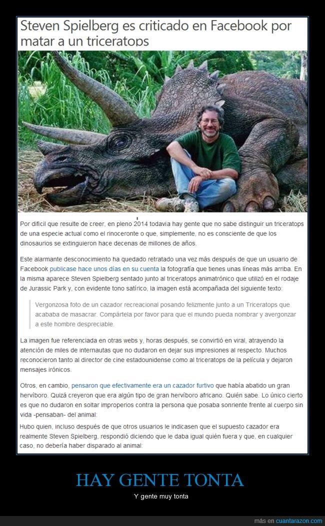 asesino,broma,cazador,dinosaurio,facebook,increible,steven spielberg,triceratops