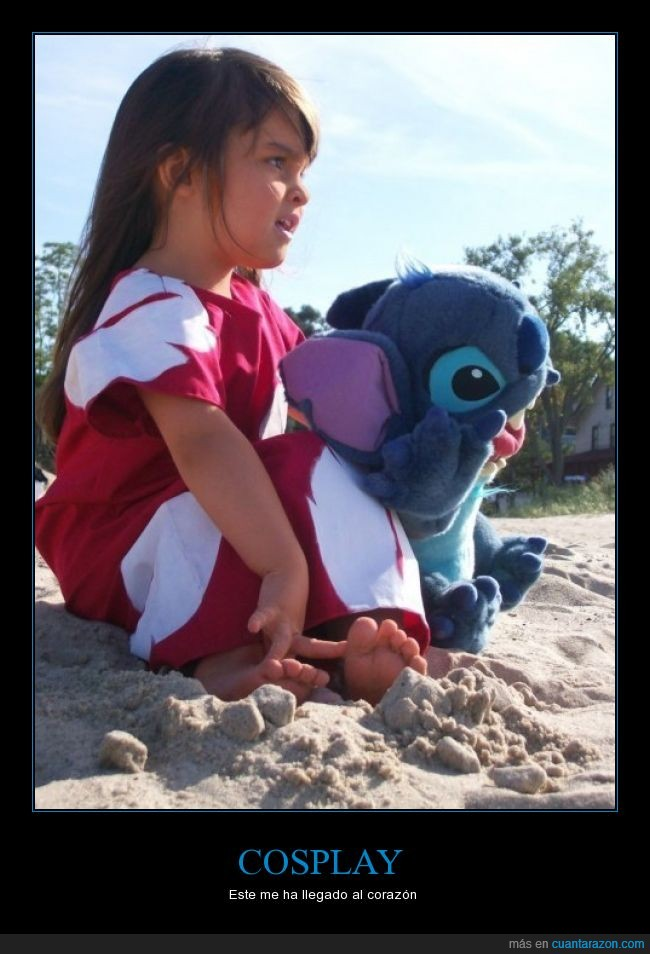 cosplay,Lilo y Stitch,monada,muñeco,niña,playa
