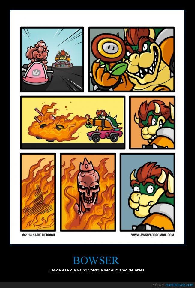 bowser,flor,fuego,mario kart,princesa peach,quemar,terminator,trauma