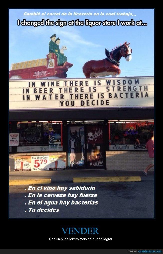 agua,cartel,cerveza,licorería o bar es lo mismo no maten mi traducción,vender,vino