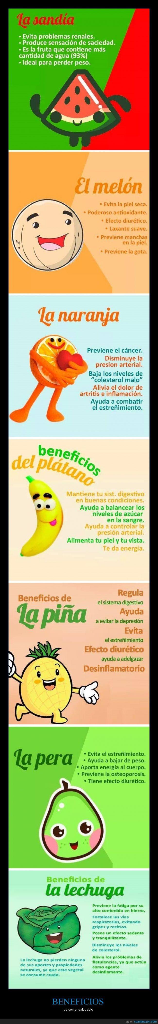 beneficios,col,fruta,lechuga,naranja,pera,platano,saludable,sandia,verdura
