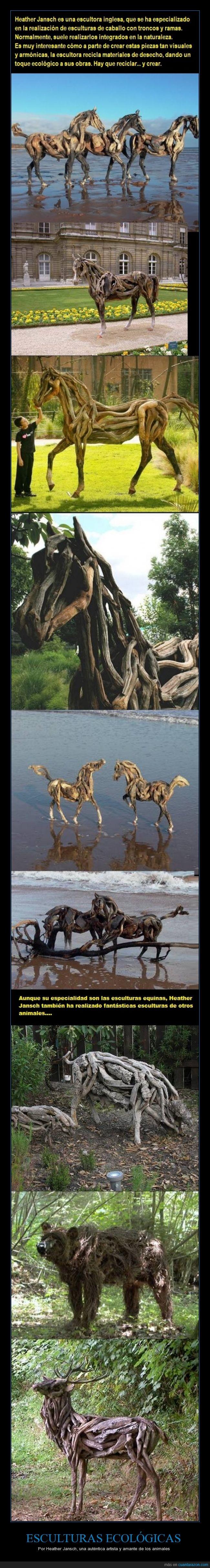 animales,arte,artista,caballos.,esculturas de madre,esculturas ecologicas,heather jansch,reciclar