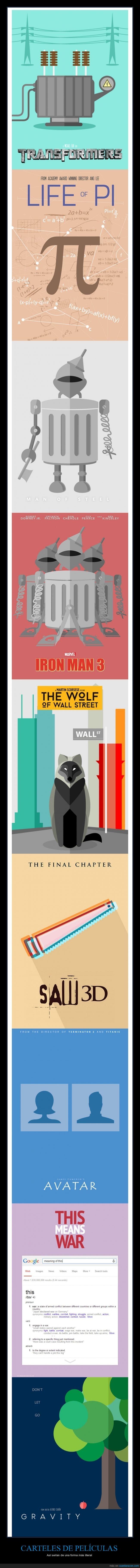 el juego del miedo,el lobo de wall street,iron man,life of pi,literal,mapache,peliculas,plancha,saw,transformador,transformers