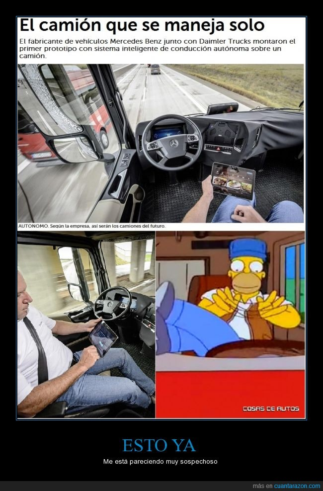 automatico,autonomo,camion,camionero,conducir,homer,los simpson,mercedes,profecia