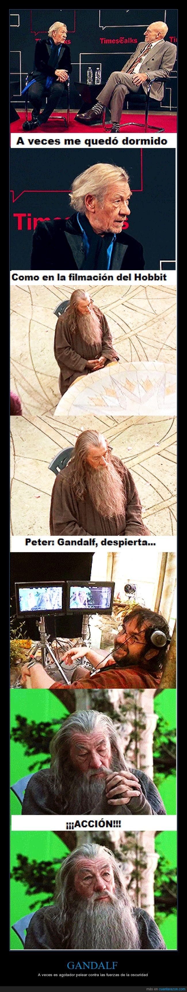 dormir,entrevista,gandalf,hobbit,perdón por la imagen de mala calidad,peter