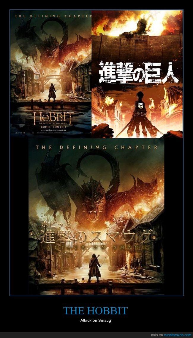attack on smaug,attack on titan,bardo el arquero,el señor de los anillos,la batalla de los 5 ejércitos,termina la segunda trilogía en diciembre,the hobbit