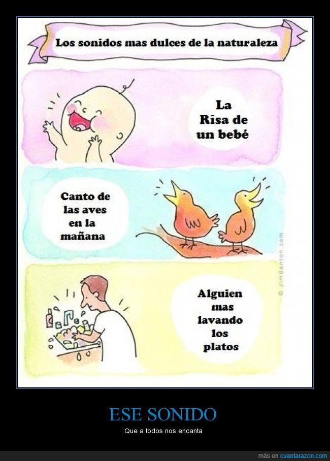 aves,bebé,canto,elegrar,felicidad,feliz,lavar,mañana,otro,persona,platos,risa,ruido,sonidos