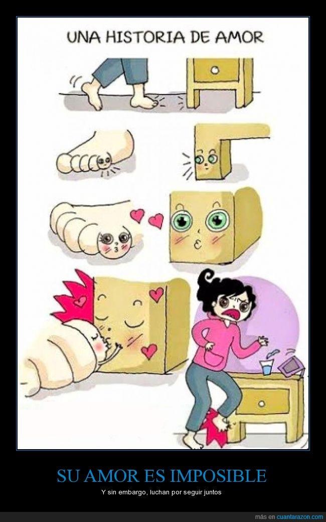 amor,besito,beso,dedo,dolor,golpe,imposible,mueble,pequeño,pico,Pie,pinrrel,se aman
