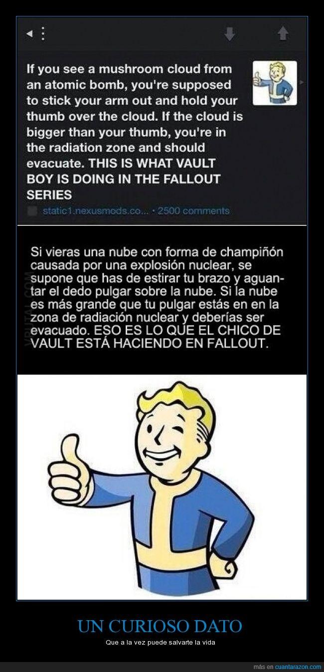 Bomba nuclear,champiñón,dedo,distancia,Fallout,nucelar,nuclear,Radiación